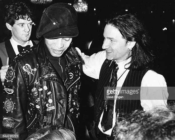 Musicians Terence Trent D'Arby and Bono at the British Rock Industry Awards London February 1988