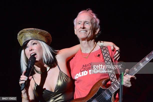 Musicians Terri Nunn from the band Berlin and Robby Krieger from The Doors perform onstage during the 10th annual Medlock Krieger All Star Concert...