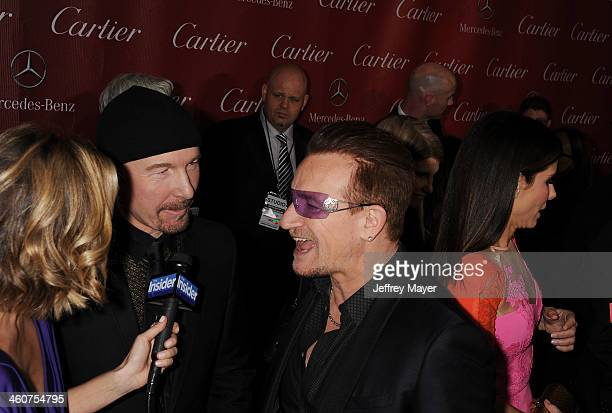 Musicians The Edge and Bono of U2 arrive at the 25th Annual Palm Springs International Film Festival Awards Gala at Palm Springs Convention Center on...