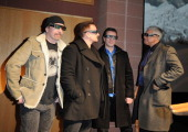 Musicians The Edge Bono Larry Mullen Jr and Adam Clayton attend 'U2 3D' premiere during 2008 Sundance Film Festival at Eccles Theatre on January 19...