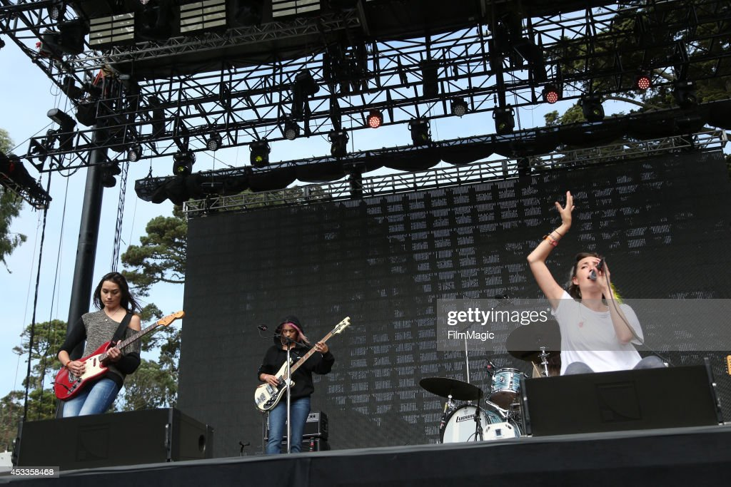 Musicians Theresa Wayman, Jenny Lee Lindberg, Stella Mozgawa and Emily Kokal of Warpaint perform at the Twin Peaks Stage during day 1 of the 2014 Outside Lands Music and Arts Festival at Golden Gate Park on August 8, 2014 in San Francisco, California.