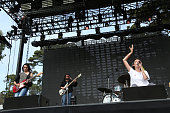 Musicians Theresa Wayman Jenny Lee Lindberg Stella Mozgawa and Emily Kokal of Warpaint perform at the Twin Peaks Stage during day 1 of the 2014...