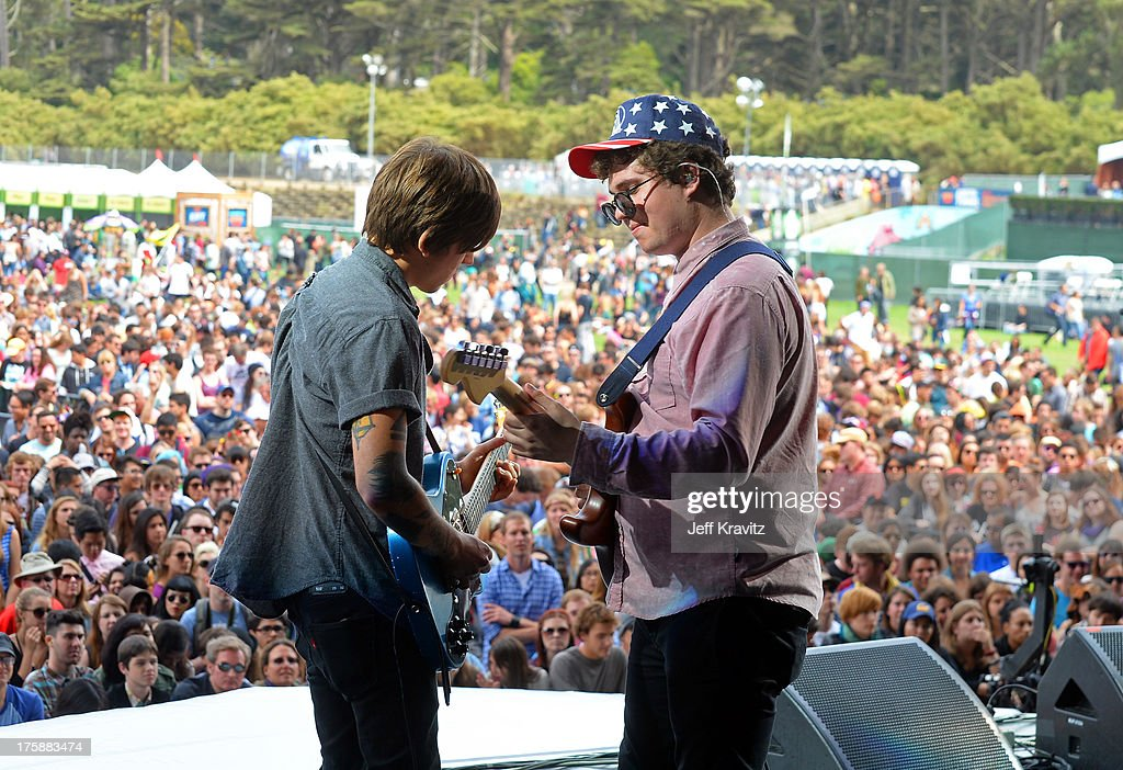 Musicians Thomas Fekete (L) and John Paul Pitts of Surfer Blood perform at the Lands End Stage during day 1 of the 2013 Outside Lands Music and Arts Festival at Golden Gate Park on August 9, 2013 in San Francisco, California.