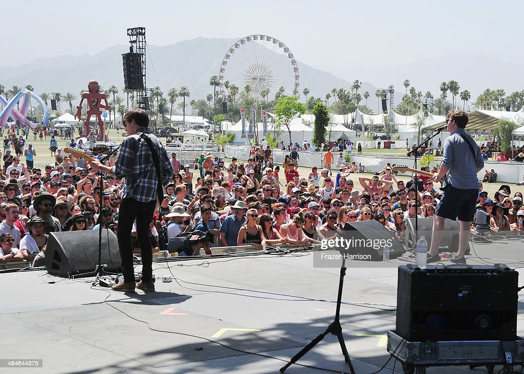 Musicians Thomas Fekete (L) and John Paul Pitts of Surfer Blood perform onstage during day 3 of the 2014 Coachella Valley Music & Arts Festival at the Empire Polo Club on April 13, 2014 in Indio, California.