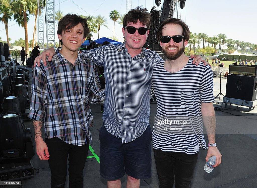 Musicians Thomas Fekete, John Paul Pitts and Kevin Williams of Surfer Blood are seen during day 3 of the 2014 Coachella Valley Music & Arts Festival at the Empire Polo Club on April 13, 2014 in Indio, California.