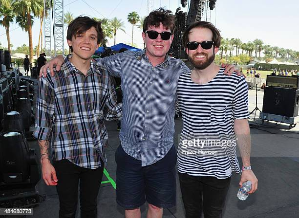 Musicians Thomas Fekete John Paul Pitts and Kevin Williams of Surfer Blood are seen during day 3 of the 2014 Coachella Valley Music Arts Festival at...