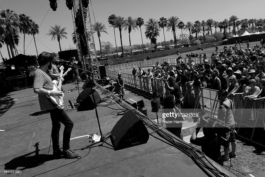 Musicians Thomas Fekete, John Paul Pitts and Kevin Williams of Surfer Blood perform onstage during day 3 of the 2014 Coachella Valley Music & Arts Festival at the Empire Polo Club on April 13, 2014 in Indio, California.