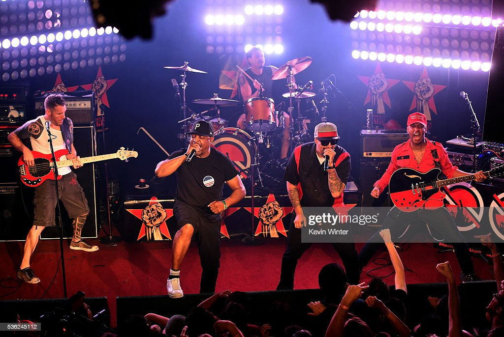Musicians Tim Commerford, Chuck D, Brad Wilk, B-Real and Tom Morello of Prophets of Rage perform onstage at Whisky a Go Go on May 31, 2016 in West Hollywood, California.