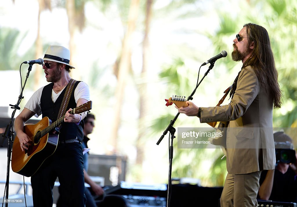 Musicians Tim Jones (L) and Leroy Powell perform onstage during 2016 Stagecoach California's Country Music Festival at Empire Polo Club on April 29, 2016 in Indio, California.