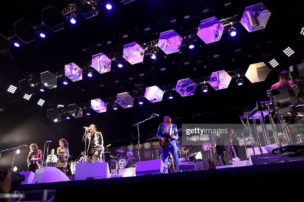 Musicians Tim Kingsbury, Regine Chassagne, Win Butler, Richard Reed Parry and William Butler of Arcade Fire perform onstage during day 3 of the 2014 Coachella Valley Music & Arts Festival at the Empire Polo Club on April 13, 2014 in Indio, California.