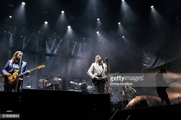 Musicians Tim Kingsbury Win Butler and Richard Reed Parry of 'Arcade Fire' perform on Day 2 of the WayHome Music and Arts Festival on July 23 2016 in...