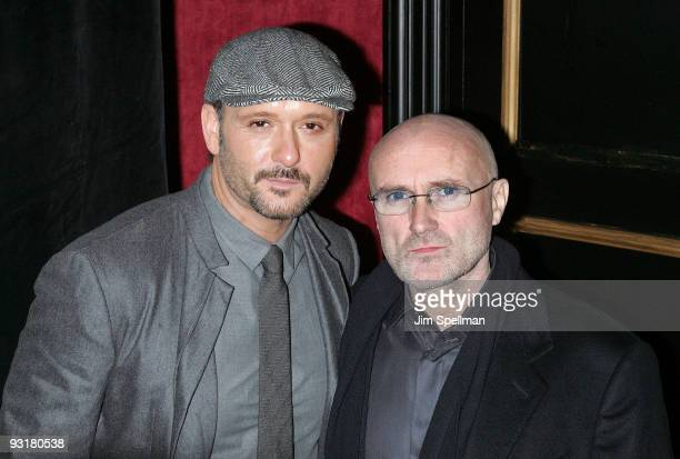 Musicians Tim McGraw and Phil Collins attend 'The Blind Side' premiere at the Ziegfeld Theatre on November 17 2009 in New York City