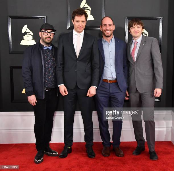 Musicians Tim Nordwind Damian Kulash Dan Konopka and Andy Ross of OK Go attend The 59th GRAMMY Awards at STAPLES Center on February 12 2017 in Los...