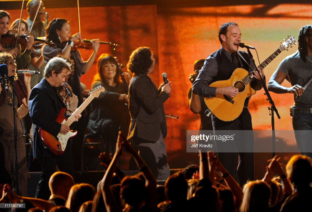Musicians Tim Reynolds, Dave Matthews of the music group the Dave Matthews Band and the Grammy Jazz Ensemble perform onstage during the 52nd Annual GRAMMY Awards held at Staples Center on January 31, 2010 in Los Angeles, California.