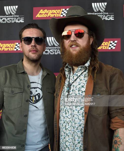 Musicians TJ Osborne and John Osborne of Brothers Osborne attends the 52nd Academy Of Country Music Awards Cumulus/Westwood One Radio Remotes at...