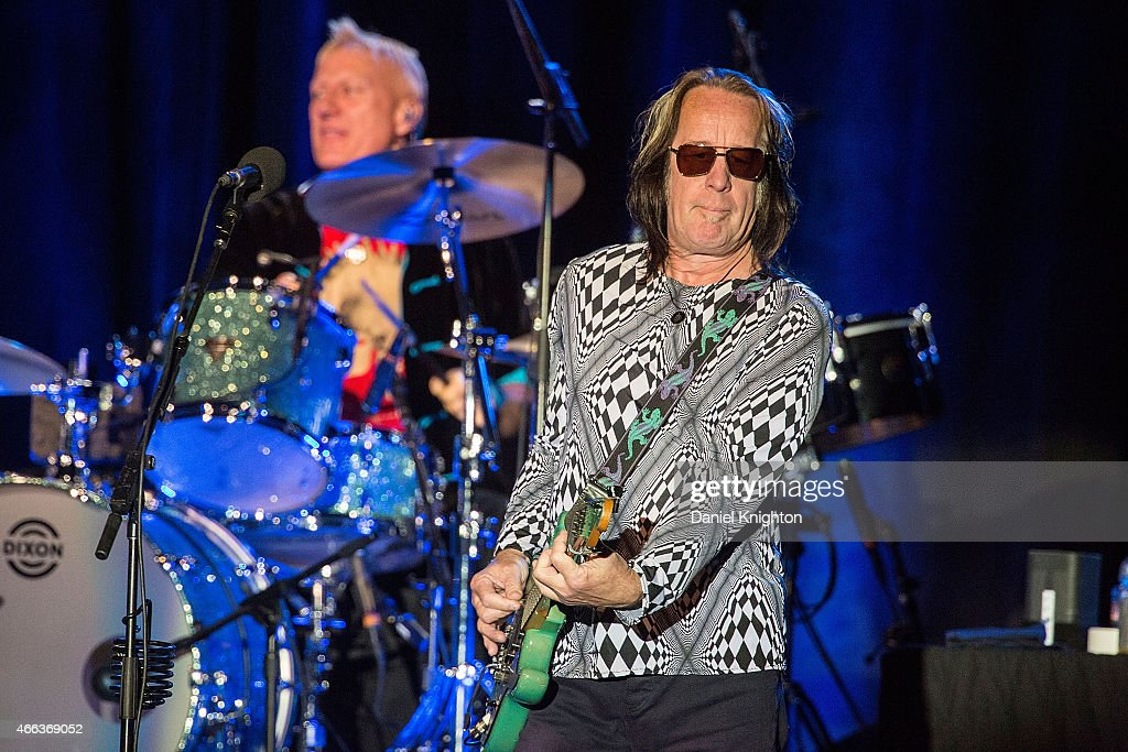 Musicians Todd Rundgren (R) and Gregg Bissonette perform on stage with Ringo Starr & His All-Starr Band at Pala Casino on March 14, 2015 in Pala, California.