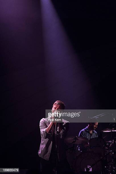 Musicians Tom Chaplin and Richard Hughes of Keane perform in concert as part of the 'Stageside Live' webcast series at ACL Live on January 17 2013 in...