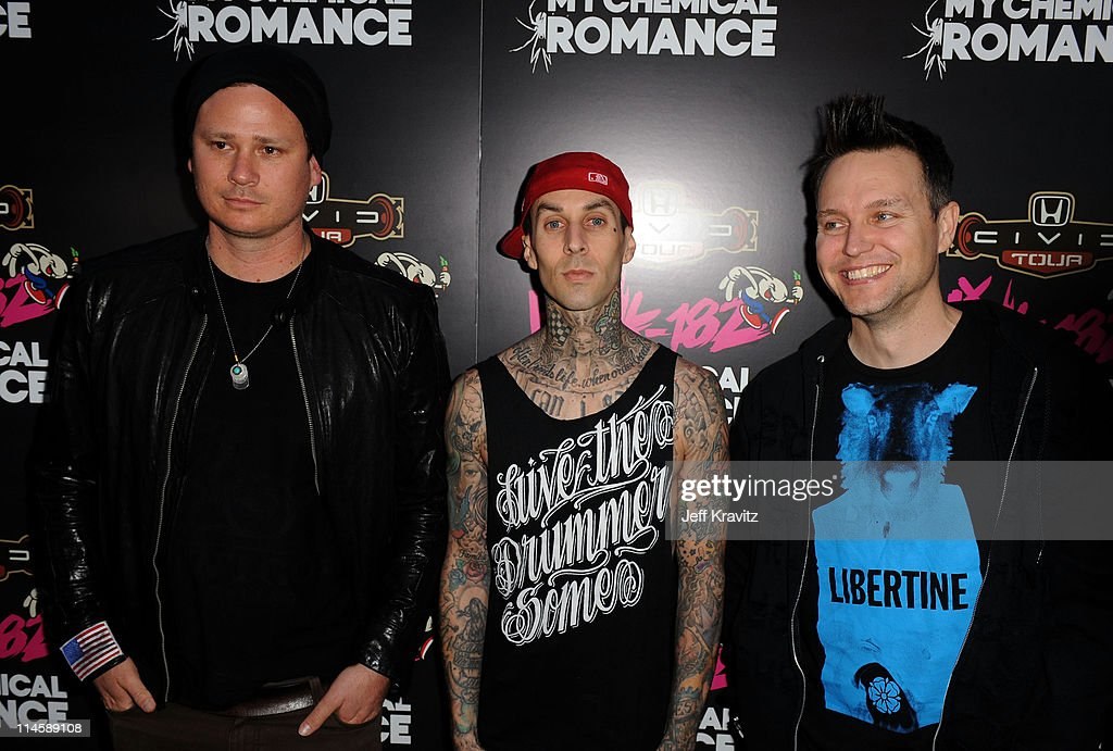 Musicians <a gi-track='captionPersonalityLinkClicked' href=/galleries/search?phrase=Tom+DeLonge&family=editorial&specificpeople=226802 ng-click='$event.stopPropagation()'>Tom DeLonge</a>, <a gi-track='captionPersonalityLinkClicked' href=/galleries/search?phrase=Travis+Barker&family=editorial&specificpeople=213206 ng-click='$event.stopPropagation()'>Travis Barker</a> and <a gi-track='captionPersonalityLinkClicked' href=/galleries/search?phrase=Mark+Hoppus&family=editorial&specificpeople=211529 ng-click='$event.stopPropagation()'>Mark Hoppus</a> of blink-182 attend blink-182 and <a gi-track='captionPersonalityLinkClicked' href=/galleries/search?phrase=My+Chemical+Romance&family=editorial&specificpeople=274917 ng-click='$event.stopPropagation()'>My Chemical Romance</a>: 2011 Honda Civic Tour Announcement Event at Rainbow Bar & Grill on May 23, 2011 in Los Angeles, California.