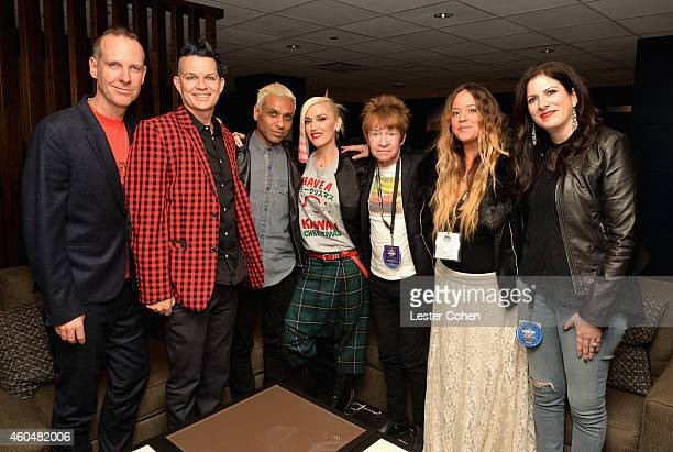 Musicians Tom Dumont Adrian Young Tony Ashwin Kanal and Gwen Stefani of No Doubt and KROQ DJs Rodney Bingenheimer Nicole Alvarez and KROQ Music...