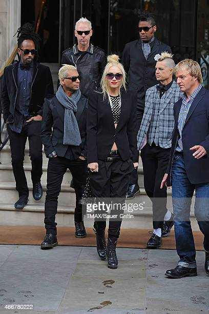 Musicians Tom Dumont Tony Kanal Gwen Stefani and Adrian Young of No Doubt are seen on September 26 2012 in London United Kingdom