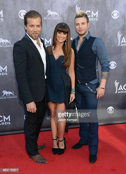 Musicians Tom Gossin Rachel Reinert and Mike Gossin of Gloriana attend the 49th Annual Academy Of Country Music Awards at the MGM Grand Garden Arena...