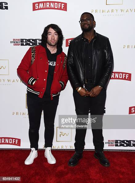 Musicians Tom Higgenson and De'Mar Hamilton of the band Plain White T's arrive at the Primary Wave 11th Annual PreGRAMMY Party at The London West...