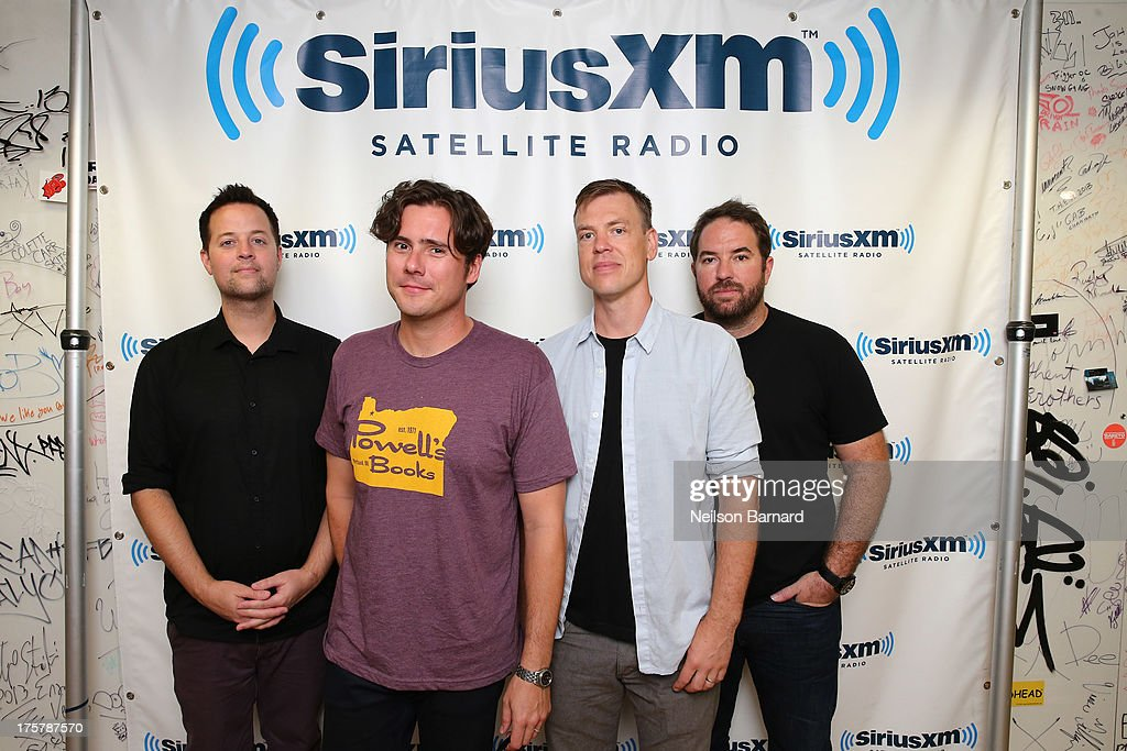 Musicians Tom Linton, Jim Adkins, Rick Burch and Zach Lind of the band Jimmy Eat World visit SiriusXM Studios on August 8, 2013 in New York City.