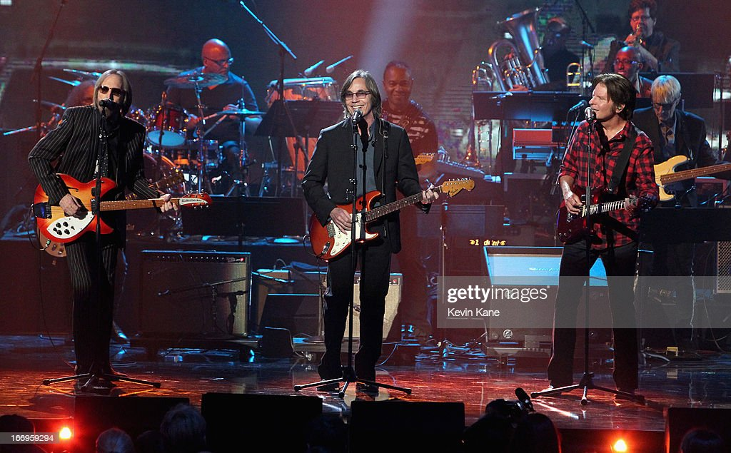 Musicians Tom Petty, Jackson Browne and John Fogerty onstage during the 28th Annual Rock and Roll Hall of Fame Induction Ceremony at Nokia Theatre L.A. Live on April 18, 2013 in Los Angeles, California.