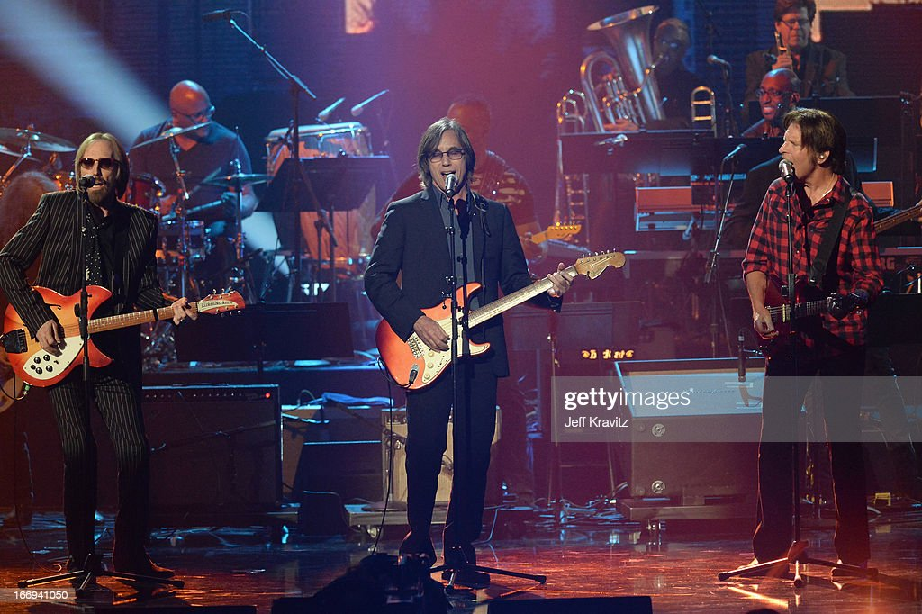 Musicians Tom Petty, Jackson Browne, and John Fogerty perform at the 28th Annual Rock and Roll Hall of Fame Induction Ceremony at Nokia Theatre L.A. Live on April 18, 2013 in Los Angeles, California.