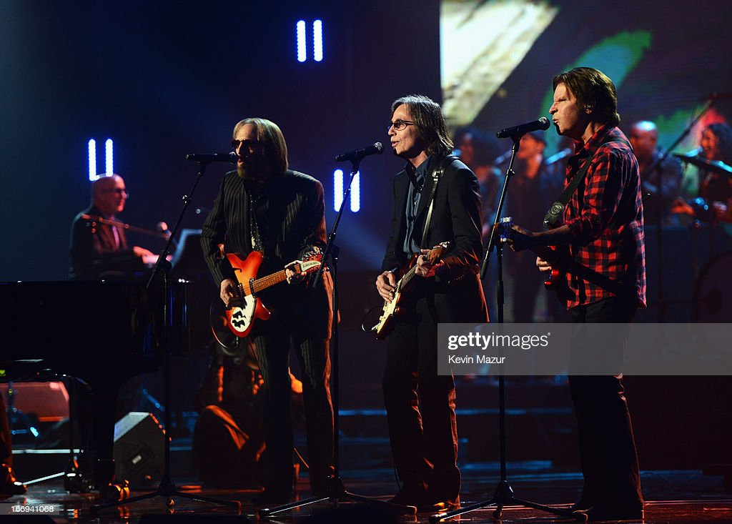 Musicians Tom Petty, Jackson Browne and John Fogerty perform at the 28th Annual Rock and Roll Hall of Fame Induction Ceremony at Nokia Theatre L.A. Live on April 18, 2013 in Los Angeles, California.