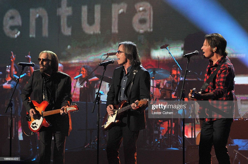 Musicians Tom Petty, Jackson Browne and John Fogerty perform onstage during the 28th Annual Rock and Roll Hall of Fame Induction Ceremony at Nokia Theatre L.A. Live on April 18, 2013 in Los Angeles, California.