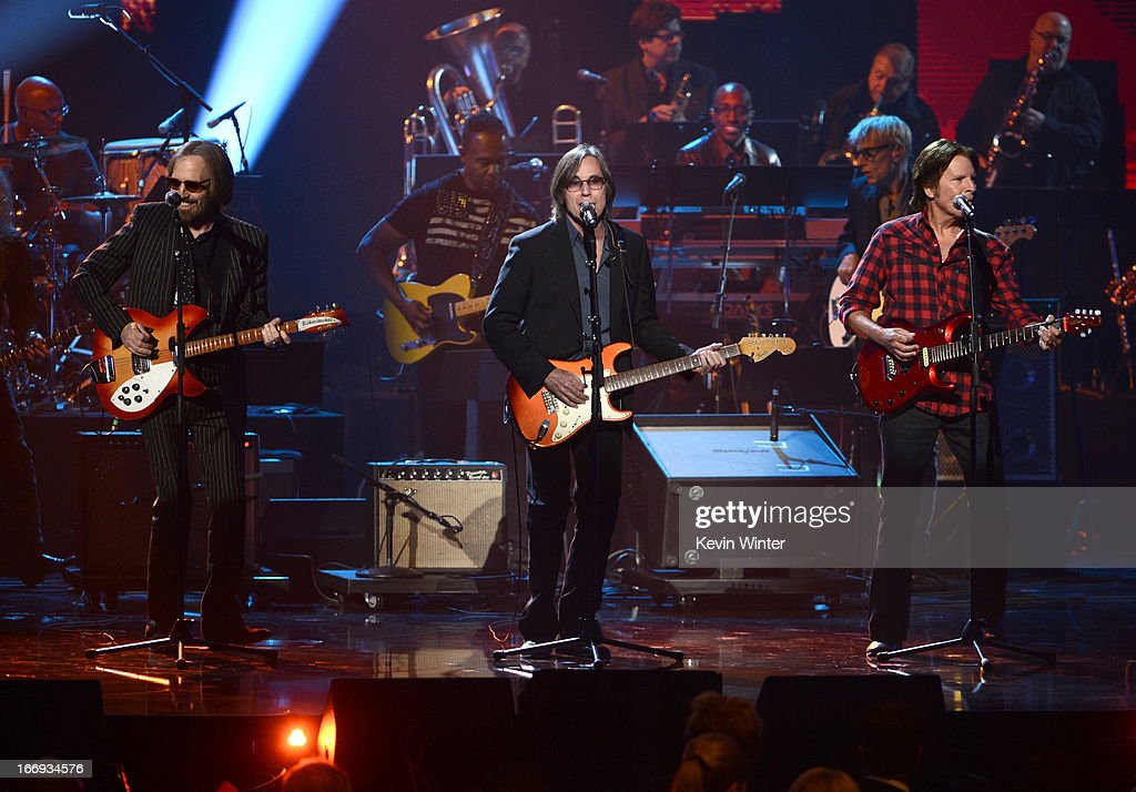 Musicians Tom Petty, Jackson Browne and John Fogerty perform onstage at the 28th Annual Rock and Roll Hall of Fame Induction Ceremony at Nokia Theatre L.A. Live on April 18, 2013 in Los Angeles, California.