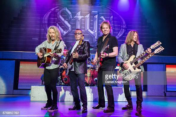 Musicians Tommy Shaw Chuck Panozzo James 'JY' Young and Ricky Phillips of Styx perform on stage at Pechanga Casino on July 17 2016 in Temecula...