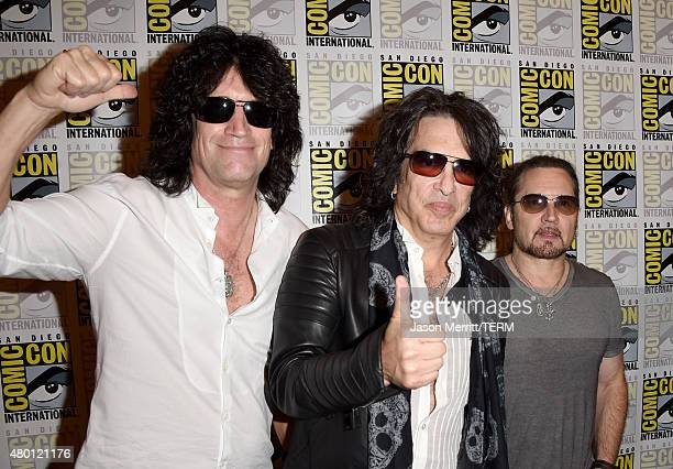 Musicians Tommy Thayer Paul Stanley and Eric Singer of Kiss attend the ScoobyDoo and Kiss Rock and Roll Mystery Press Room during ComicCon...