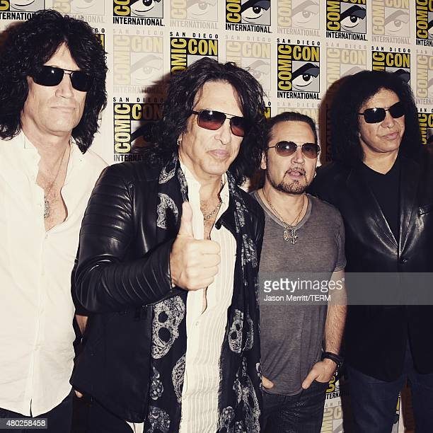 Musicians Tommy Thayer Paul Stanley Eric Singer and Gene Simmons of Kiss attend the ScoobyDoo and Kiss Rock and Roll Mystery Press Room during...