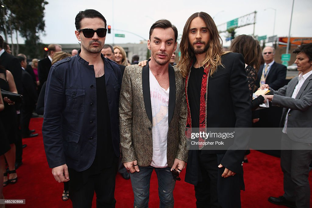 Musicians Tomo Milicevic, Shannon Leto and actor-singer Jared Leto of Thirty Seconds to Mars attend the 56th GRAMMY Awards at Staples Center on January 26, 2014 in Los Angeles, California.