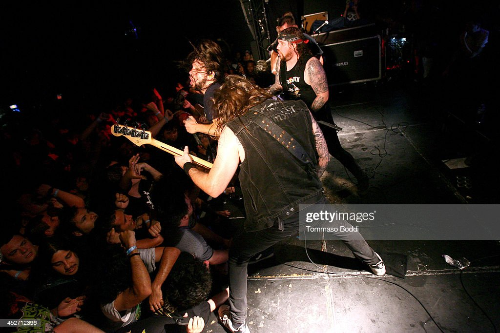 Musicians Tony Foresta, Land Phil and Ryan Waste of Municipal Waste perform at the Pabst Blue Ribbon and DoLA present Municipal Waste: A Nuclear Keg Party held at the Echoplex on July 25, 2014 in Los Angeles, California.