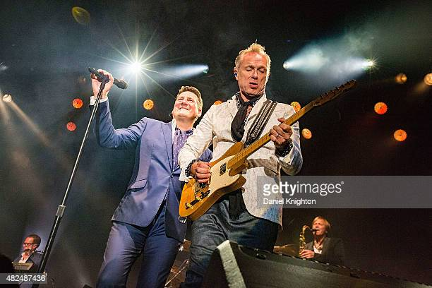Musicians Tony Hadley and Gary Kemp of Spandau Ballet perform on stage at Humphrey's on July 30 2015 in San Diego California