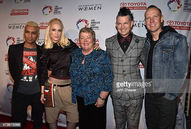 Musicians Tony Kanal and Gwen Stefani Chief Executive Officer of the Los Angeles LGBT Center Lorri L Jean and musicians Adrian Young and Tom Dumont...