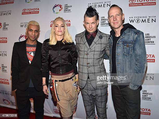 Musicians Tony Kanal Gwen Stefani Adrian Young and Tom Dumont of No Doubt attend An Evening with Women benefiting the Los Angeles LGBT Center at the...