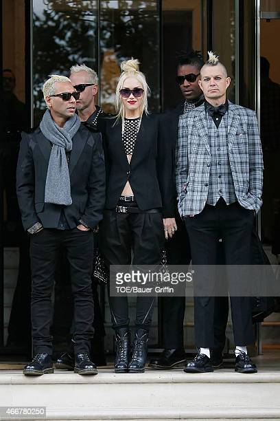 Musicians Tony Kanal Gwen Stefani and Adrian Young of No Doubt are seen on September 26 2012 in London United Kingdom
