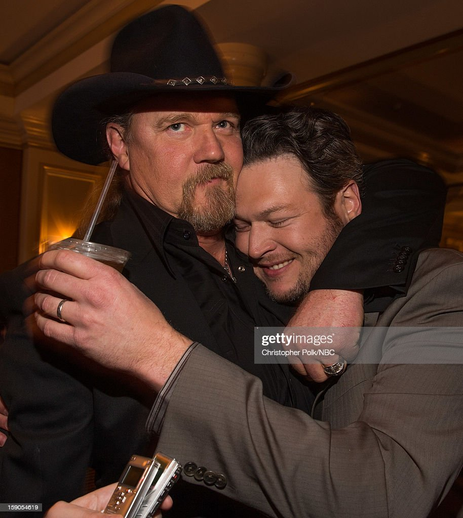Musicians <a gi-track='captionPersonalityLinkClicked' href=/galleries/search?phrase=Trace+Adkins&family=editorial&specificpeople=224686 ng-click='$event.stopPropagation()'>Trace Adkins</a> and <a gi-track='captionPersonalityLinkClicked' href=/galleries/search?phrase=Blake+Shelton&family=editorial&specificpeople=2352026 ng-click='$event.stopPropagation()'>Blake Shelton</a> at the NBCUniversal 2013 TCA Winter Press Tour Party held at The Langham Huntington Hotel and Spa on January 6, 2013 in Pasadena, California.