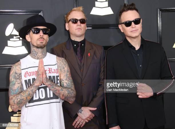 Musicians Travis Barker Matt Skiba and Mark Hoppus of Blink182 arrive at The 59th GRAMMY Awards at Staples Center on February 12 2017 in Los Angeles...