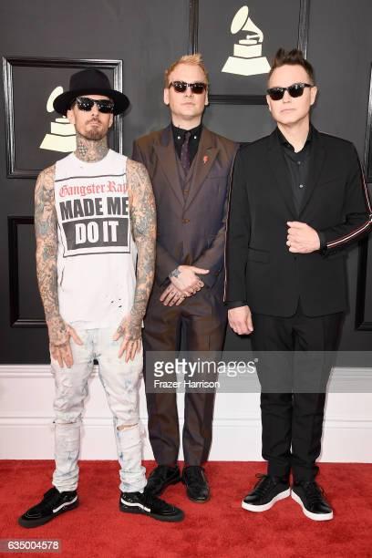 Musicians Travis Barker Matt Skiba and Mark Hoppus of blink182 attend The 59th GRAMMY Awards at STAPLES Center on February 12 2017 in Los Angeles...
