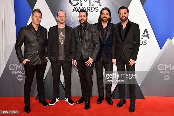 Musicians Trevor Rosen Whit Sellers Matthew Ramsey Geoff Sprung and Brad Tursi of Old Dominion attend the 49th annual CMA Awards at the Bridgestone...