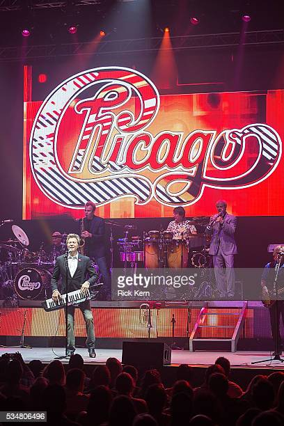 Musicians Tris Imboden Robert Lamm Walt Parazaider Walfredo Reyes Jr Lee Loughnane and Jason Scheff of Chicago perform in concert at ACL Live on May...