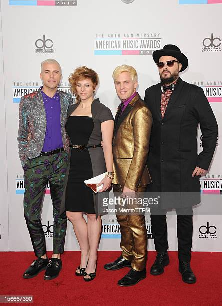 Musicians Tyler Glenn Elaine Bradley Chris Allen and Branden Campbell of Neon Trees attend the 40th American Music Awards held at Nokia Theatre LA...