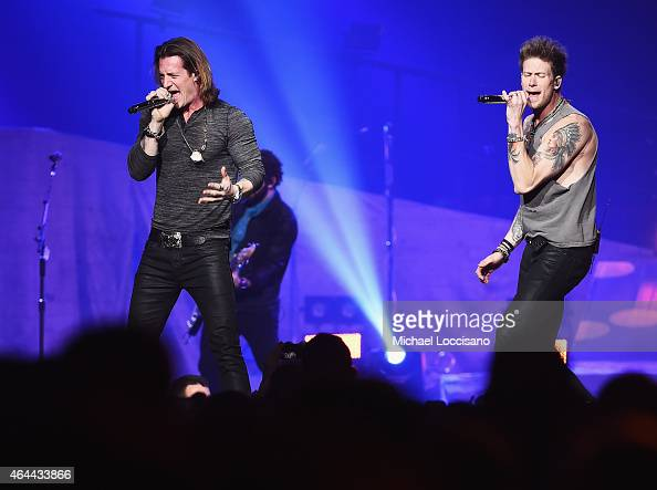 Musicians Tyler Hubbard and Brian Kelley of Florida Georgia Line perform at Madison Square Garden on February 25 2015 in New York City