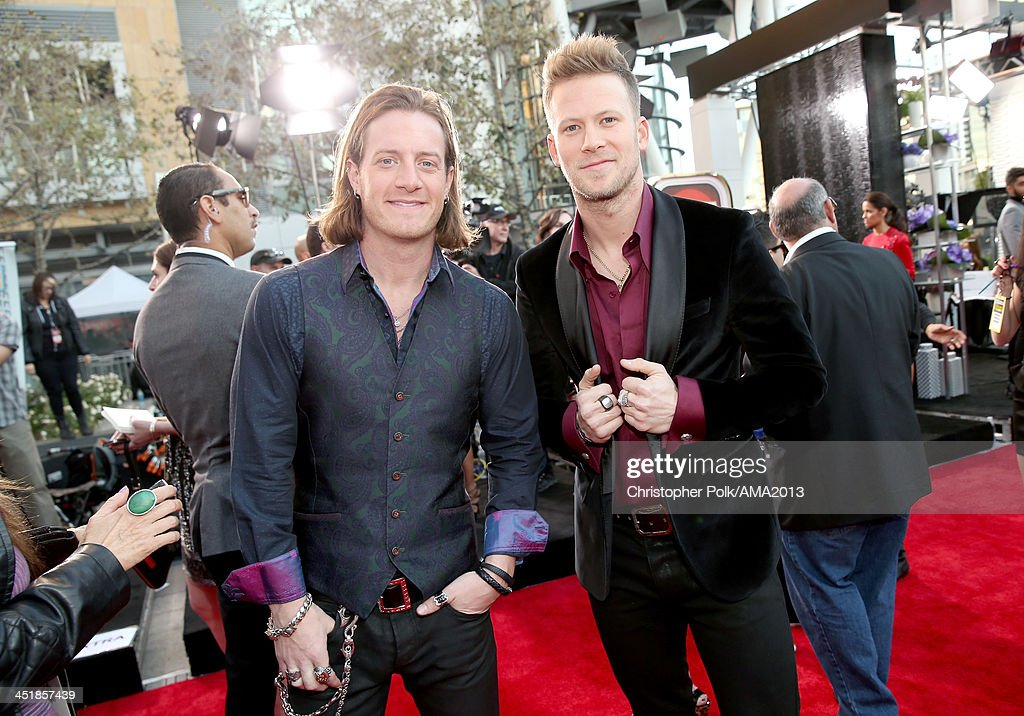 Musicians <a gi-track='captionPersonalityLinkClicked' href=/galleries/search?phrase=Tyler+Hubbard&family=editorial&specificpeople=9453787 ng-click='$event.stopPropagation()'>Tyler Hubbard</a> (L) and Brian Kelley of Florida Georgia Line attend the 2013 American Music Awards at Nokia Theatre L.A. Live on November 24, 2013 in Los Angeles, California.