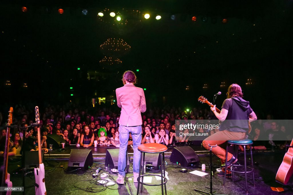 Musicians <a gi-track='captionPersonalityLinkClicked' href=/galleries/search?phrase=Tyson+Ritter&family=editorial&specificpeople=227469 ng-click='$event.stopPropagation()'>Tyson Ritter</a> (L) and Nickolas Von Wheeler of The All-American Rejects perform at Lyme Light: the concert benefiting the tick-borne disease alliance at El Rey Theatre on May 1, 2014 in Los Angeles, California.